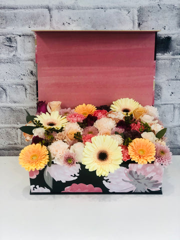 flower box of roses gerber daisies same day delivery