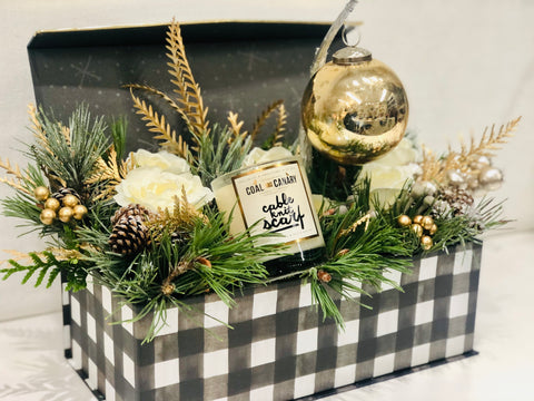 Gold and Glitter Flower Box with Gift & Ornament