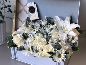 Sympathy flower box White roses and Lilies