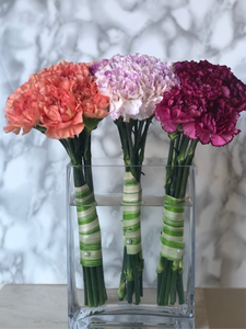 carnations in a clear vase arrangement. flower delivery for mothers day in richmond, bc.