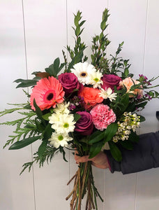 gerber daisies, roses, wax flower, carnations hand-tied bouquet same day delivery