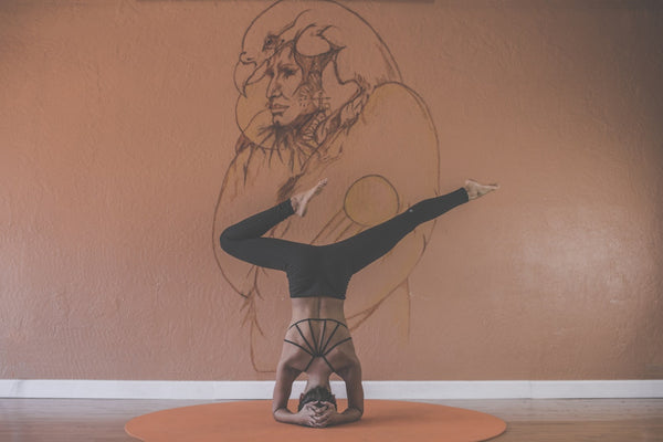 Yoga Pose Head Stand Women, So SWEATy Blog Wearing Sports Bra's