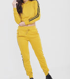 Mustard Stripe Pants & Hoodie Set SO SWEATY