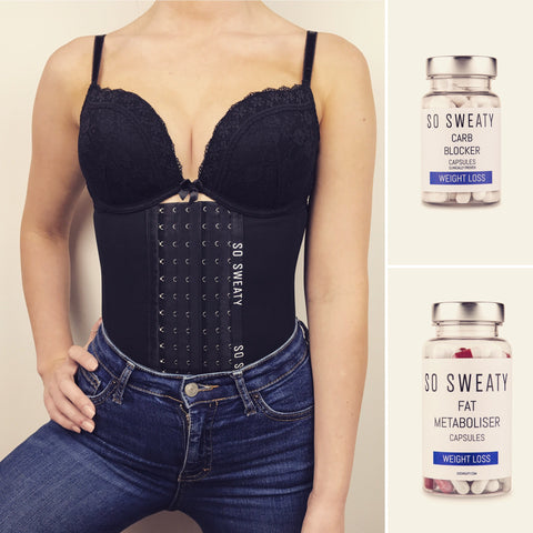 Body transformation Pack by SO SWEATY - Contour Waist Trainer , Carb Blocker Capsules , Fat Metaboliser Capsules , Food Planner , Exercise guide - sosweaty.com