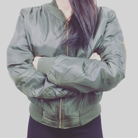 Bomber style military jacket by So Sweaty - Women's Khaki Green
