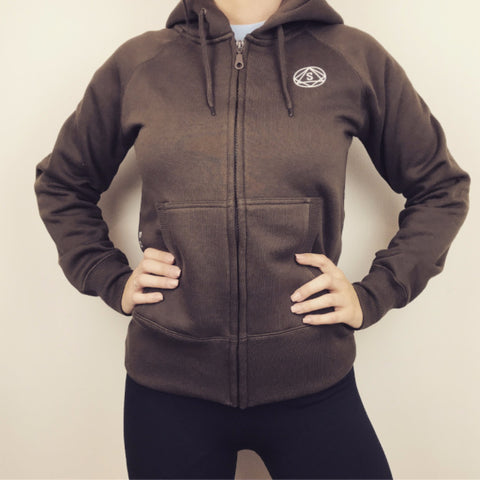 Full zip hooded jumper by So Sweaty women's Workout Hoodie brown