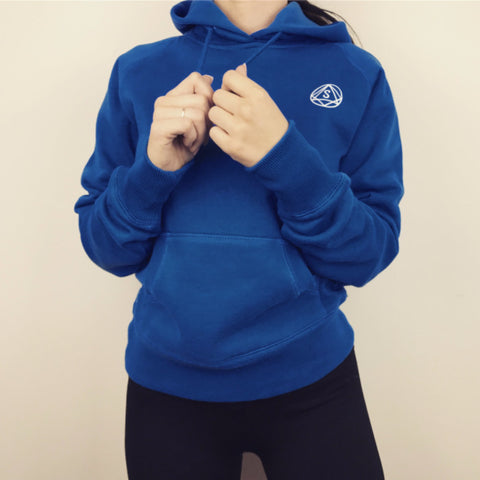 Contour Hoodie - Hooded Jumper by So Sweaty- Blue Brushed Cotton