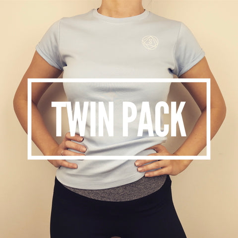 Twin Pack Special - Workout Tee - Light Blue