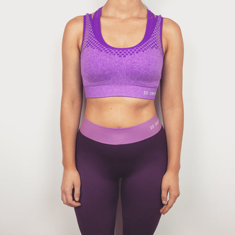 Sports Bra + Workout Leggings Set - Purple SO SWEATY