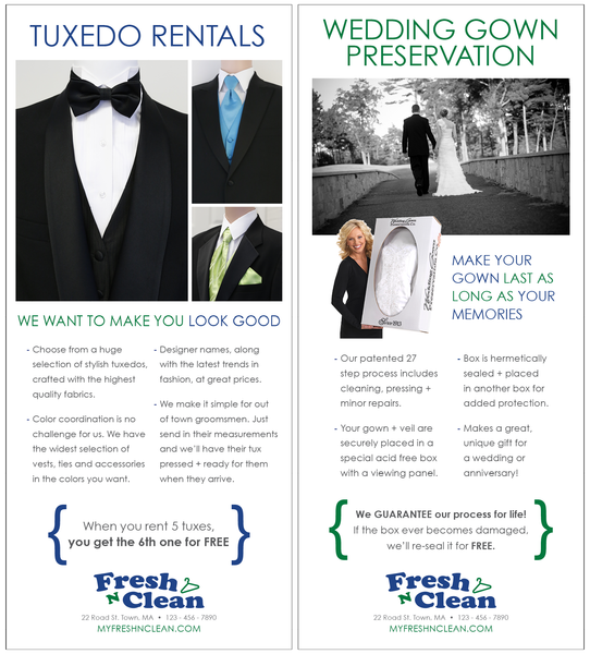 Tuxedo Rental & Wedding Gown Preservation Pamphlet