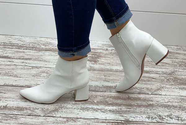 Leather White Booties