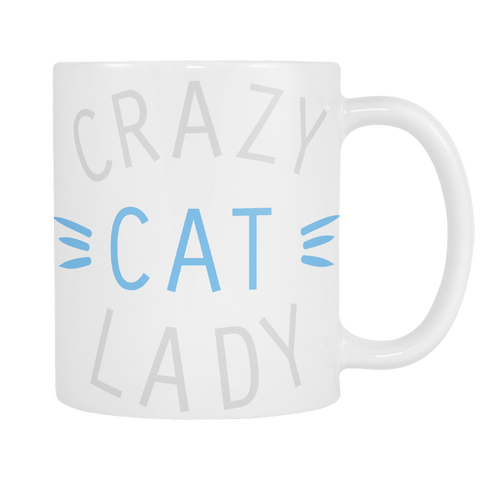 Crazy Cat Lady Mug Blue