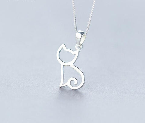simplistic silver cat necklace