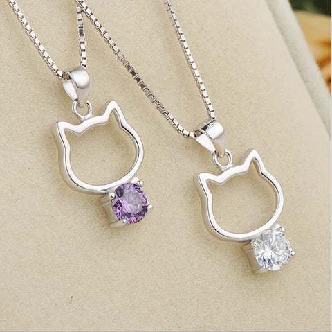 cubic zirconia cat necklaces
