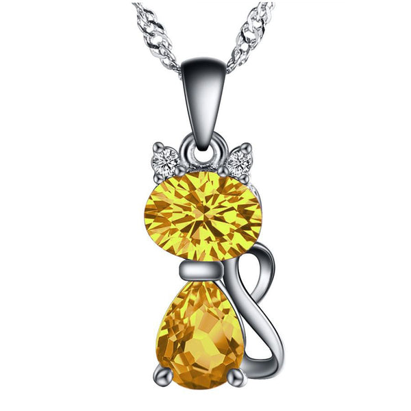 Crystal Cat Necklace Yellow