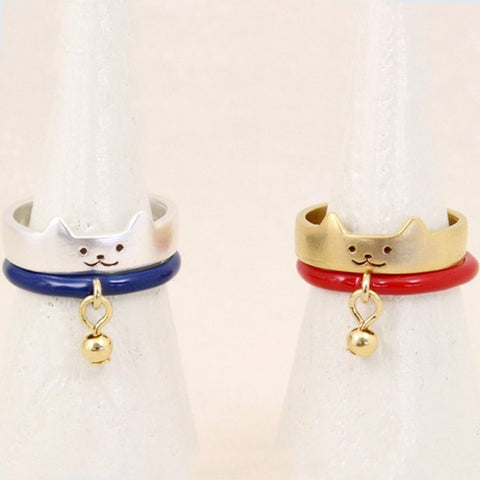 2 Piece Cute Cat Rings
