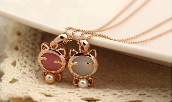 Gold Plated Cat Necklaces With White and Pink Stones