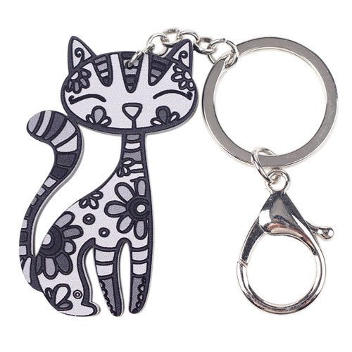 Acrylic Cat Keychain Black and White