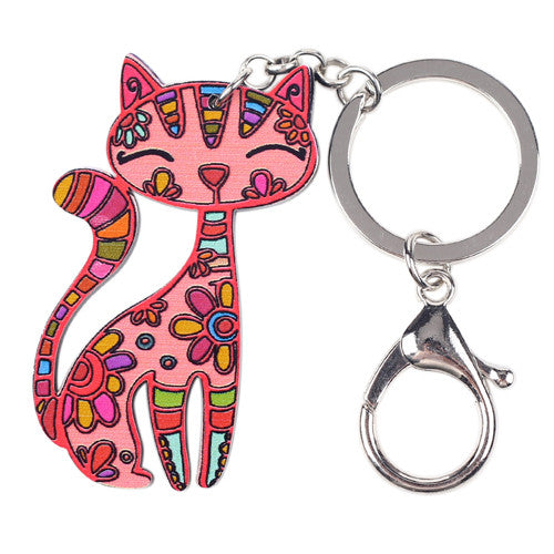 Acrylic Cat Keychain Red/Pink
