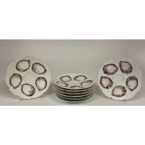 1930's French Oyster Plates, Set of 8 - The Posh Shop