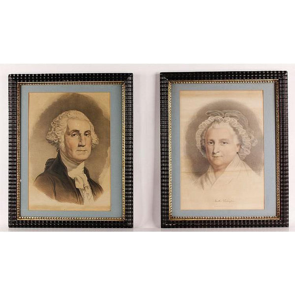 19th C. Currier & Ives George & Martha Washington Lithographs - The Posh Shop