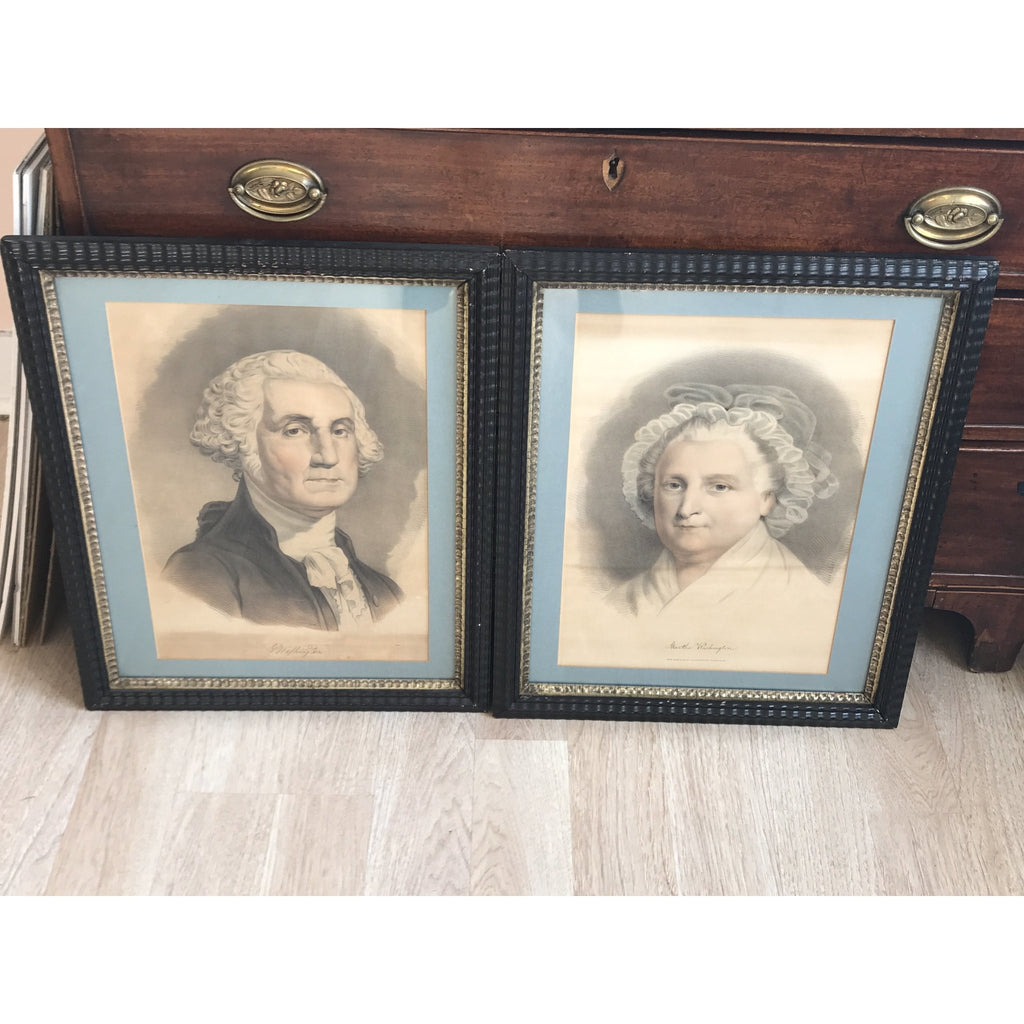 19th C. Currier & Ives George & Martha Washington Lithographs - POSH