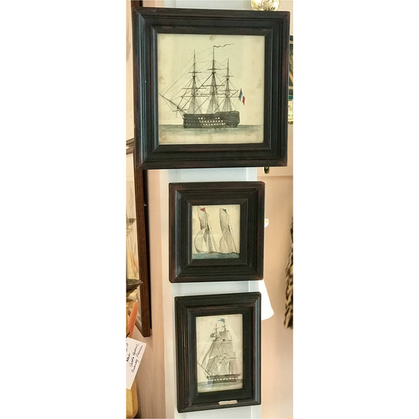 19th C. Ship Watercolors, Group of 3 - POSH