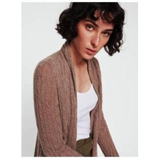 White & Warren Cable Cardigan - Mink Heather - LARGE - The Posh Shop