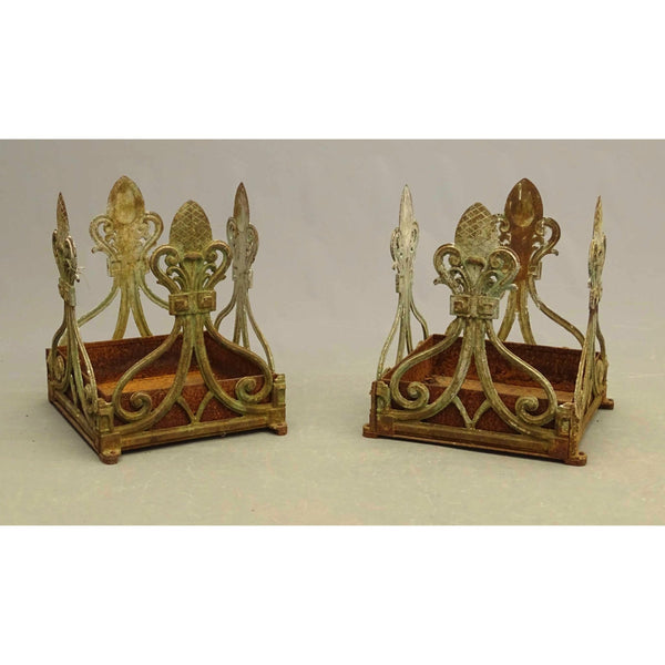 Antique French Cast Iron Planters, Pair - The Posh Shop