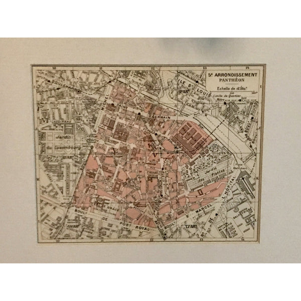 Antique Map of 5th arrondissement, Paris - The Posh Shop