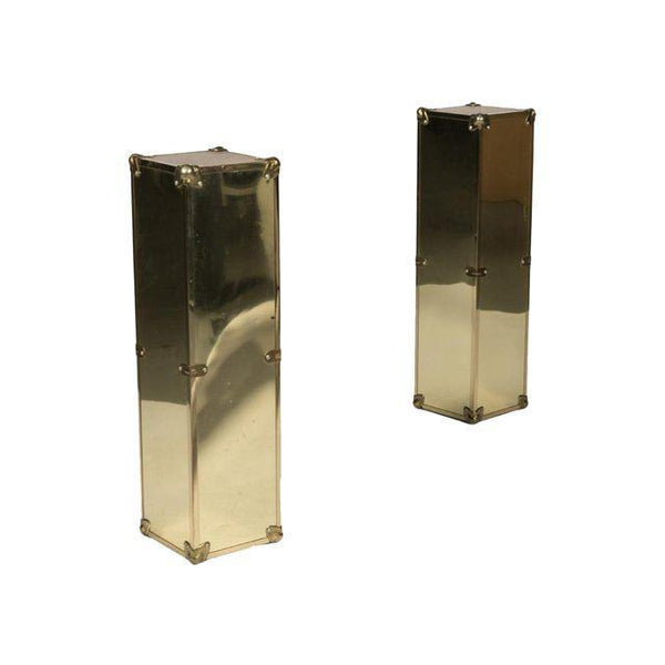 Campaign Style Brass Pedastals, Pair - The Posh Shop