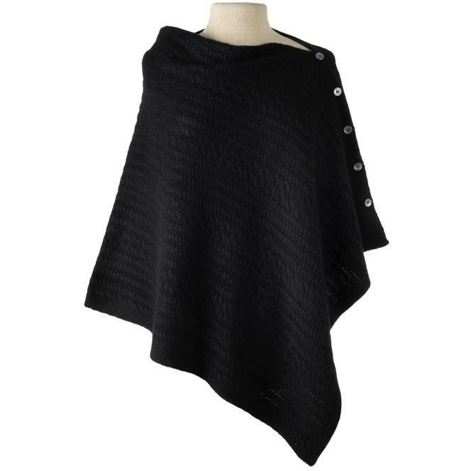 Cashmere Cable Knit Cape - Black - The Posh Shop