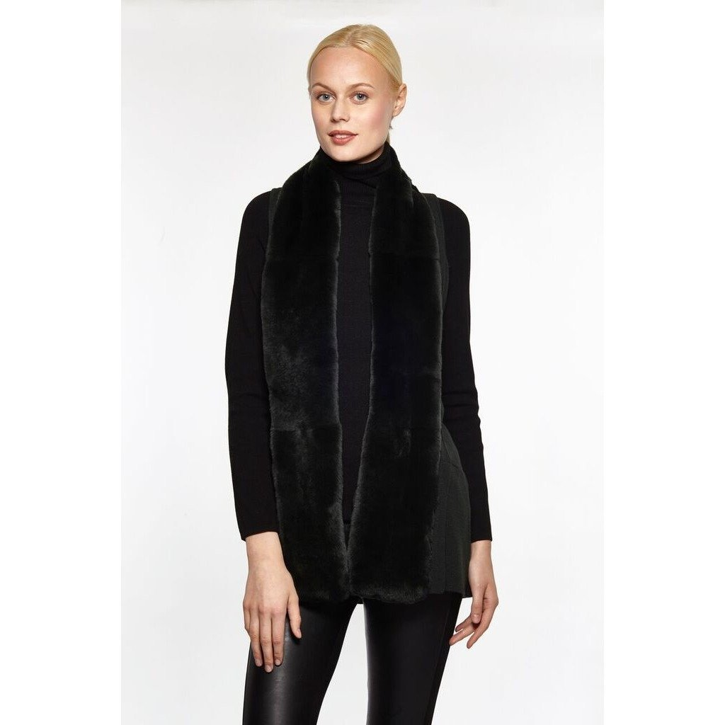 Fur and Wool Tuxedo Vest - BLACK SMALL - The Posh Shop