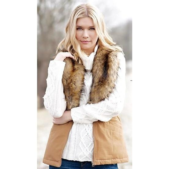 Fur Collar Anorak Vest, Tobacco MEDIUM - The Posh Shop