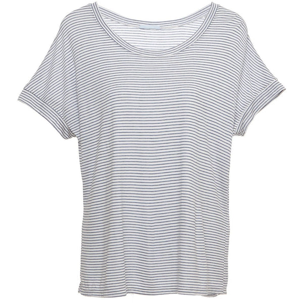 Georgie Striped Short Sleeve Top - Cloud/Chambray SMALL - POSH