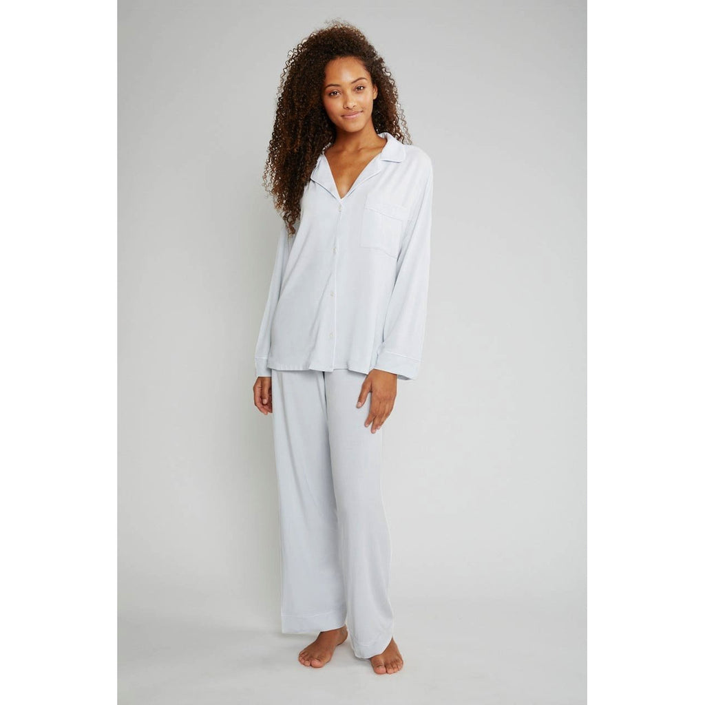 GISELE LONG PJ SET - WATER BLUE/WHITE - SMALL - POSH
