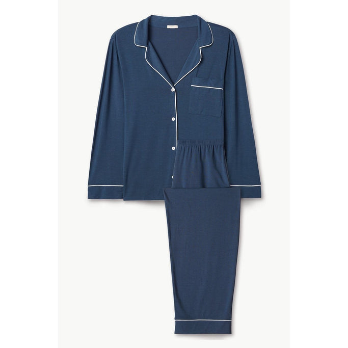 GISELE PJ Set - Indigo Blue/Ivory Medium - The Posh Shop