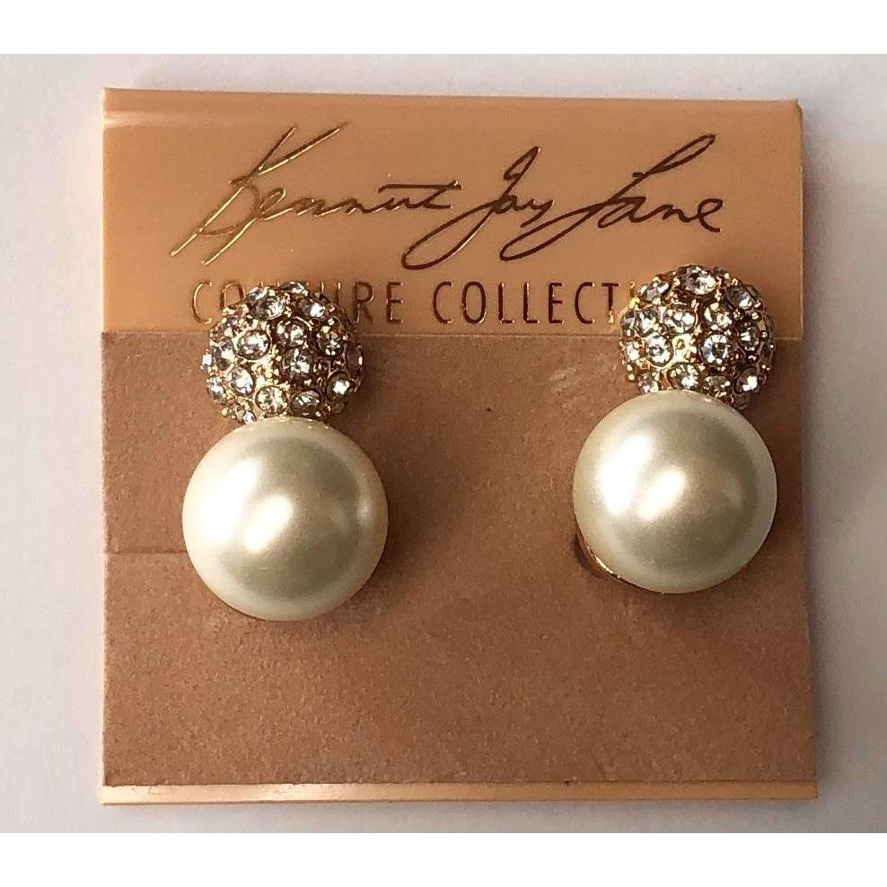 KJL Pave & Pearl Clip Earrings - The Posh Shop