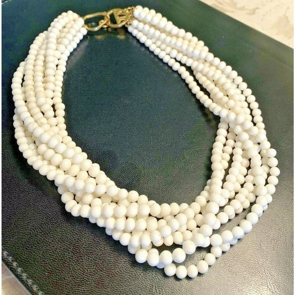 KJL White Bead 8 Strand Chunky Choker - The Posh Shop