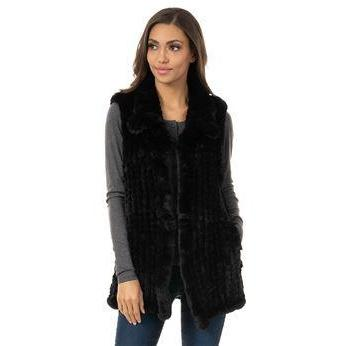 Knitted Fur Vest - Black M - The Posh Shop