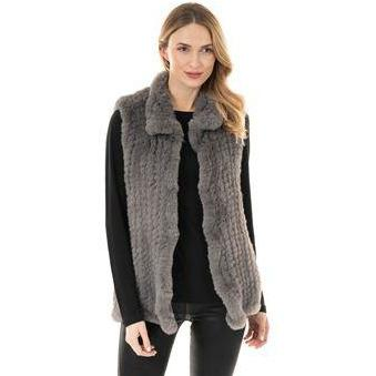 Knitted Fur Vest - Slate Grey S - The Posh Shop