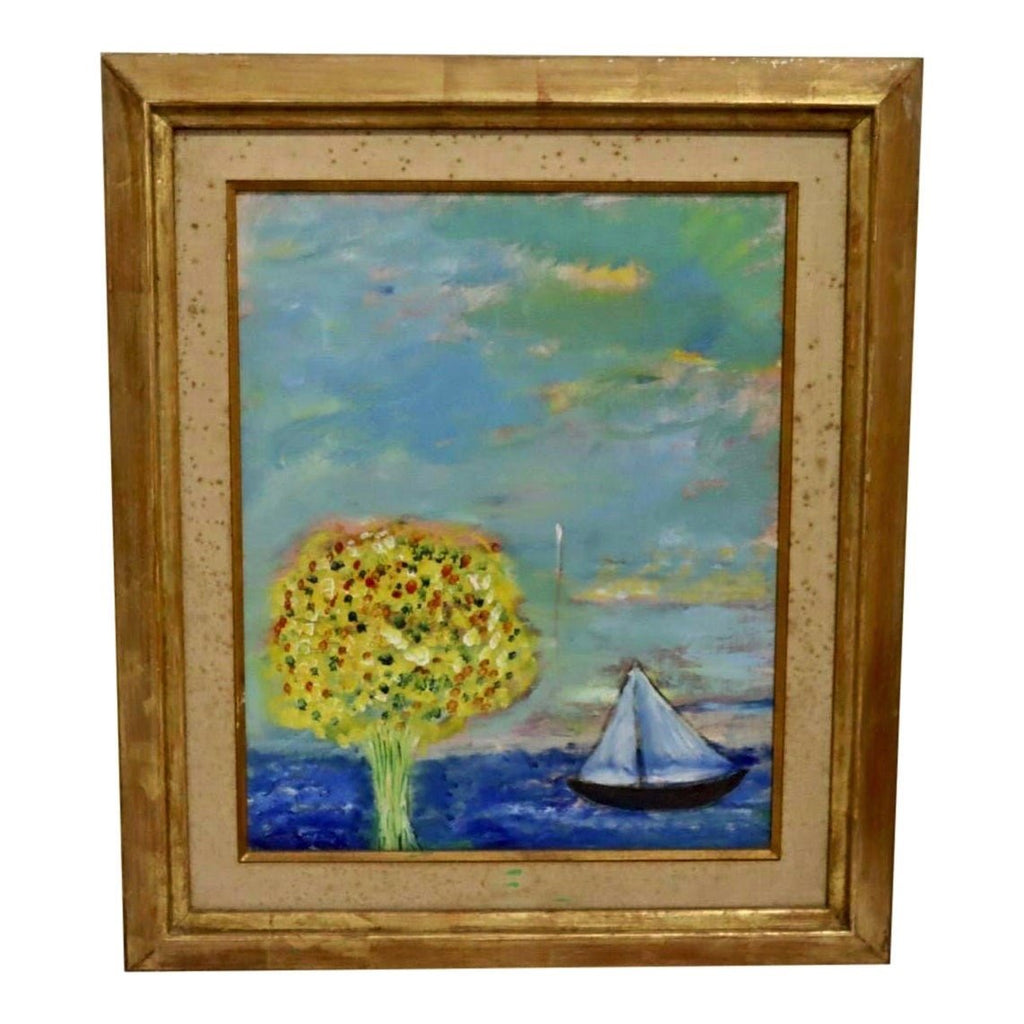 Midcentury Abstract Seascape Oil - POSH