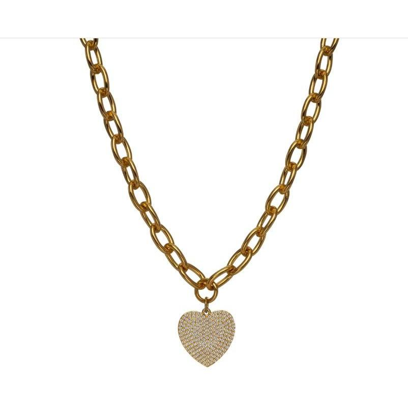 Pave Crystal Heart Necklace - Yellow Gold - POSH