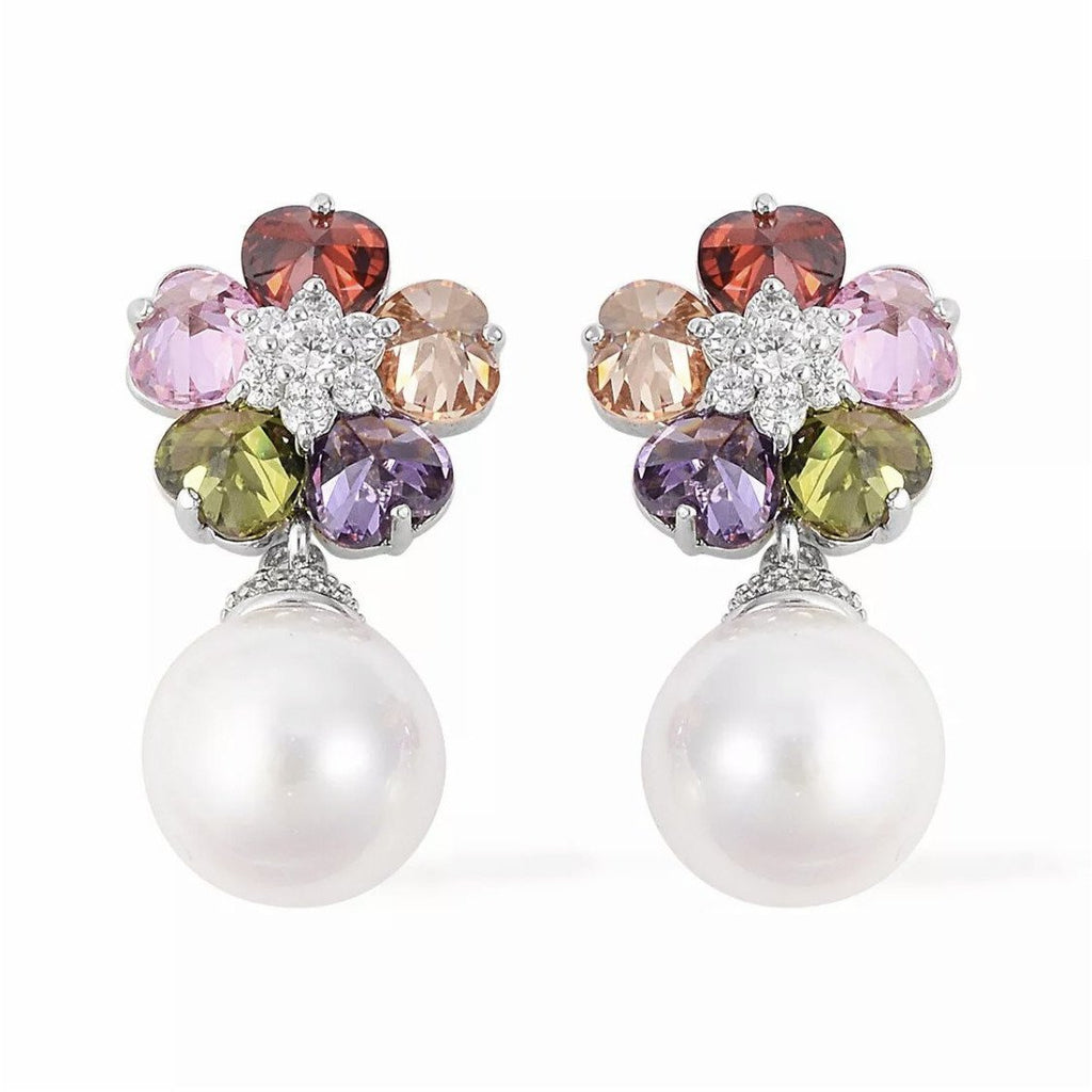 Pearl CZ Dangle Drop Earring - POSH