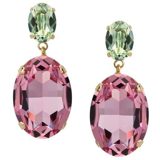 Rose and Peridot Swarovski Crystal Drop Earrings - The Posh Shop
