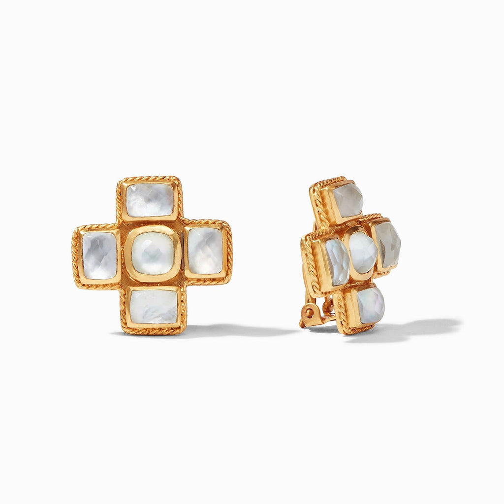 Savoy Clip Earrings - Clear Crystal - POSH