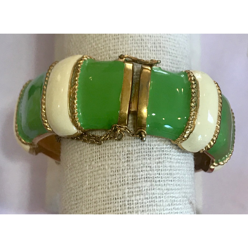 Vintage Green and White Enamel Bangle - The Posh Shop