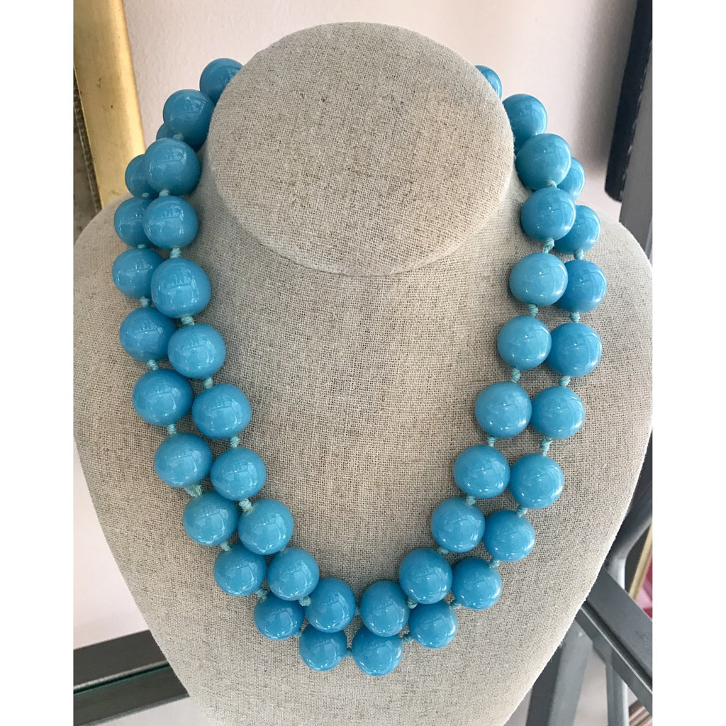 Vintage Kenneth Jay Lane Chunky Turquoise Bead Necklace - The Posh Shop