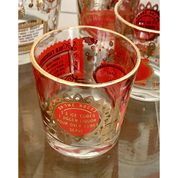 Vintage Set: Red & Gold COCKTAIL Recipe Barware - POSH