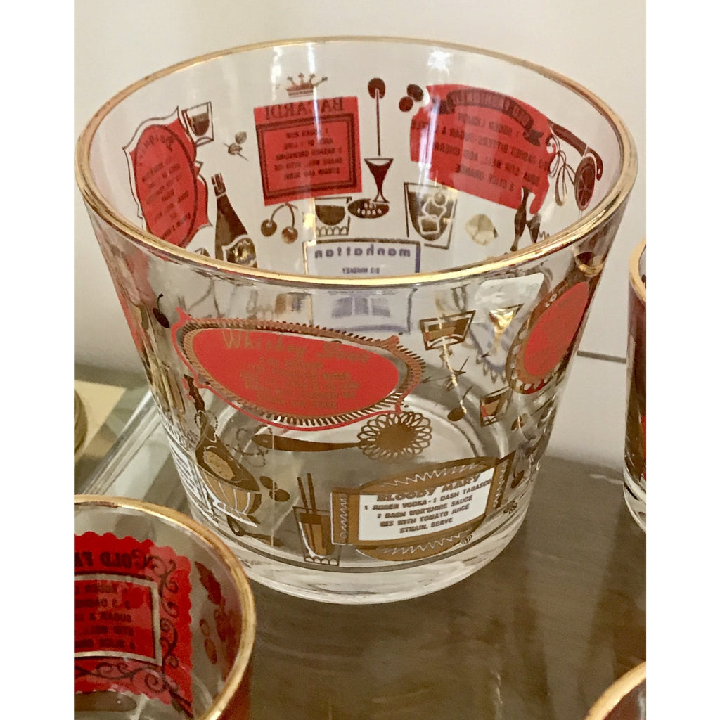 Vintage Set: Red & Gold COCKTAIL Recipe Barware - The Posh Shop